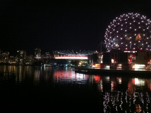 Nighttime view of False Creek, Vancouver, BC