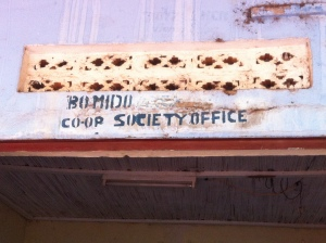 Bomido Co-op Society office sign
